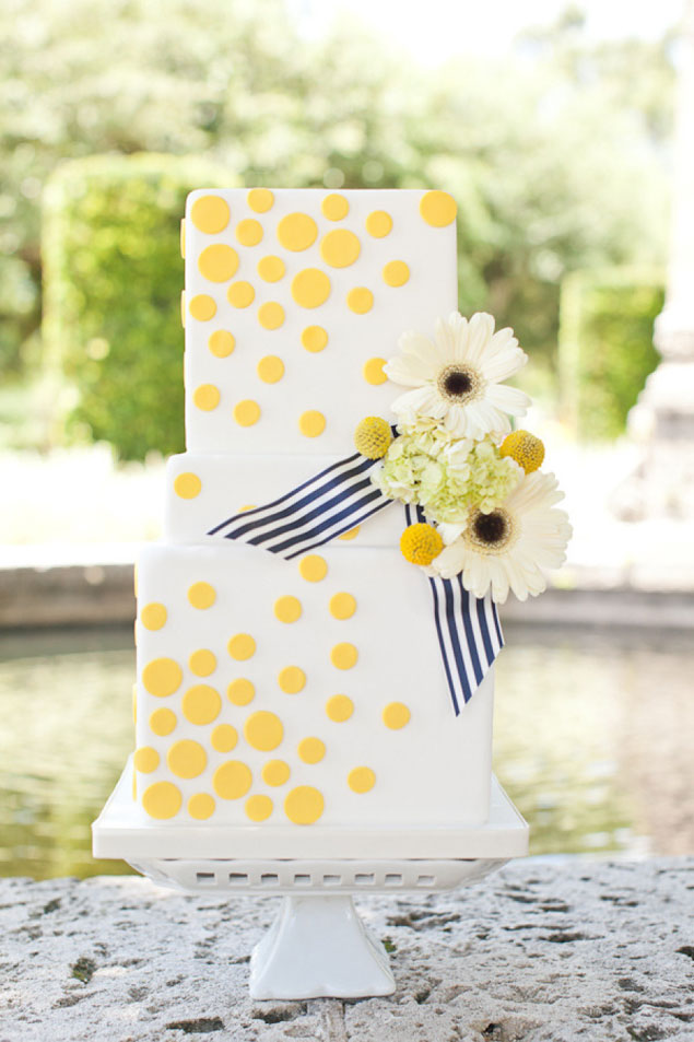 Yellow Polka Dot Wedding Cake