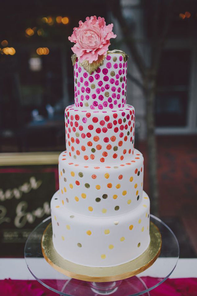 Pink Polka Dot Wedding Cake