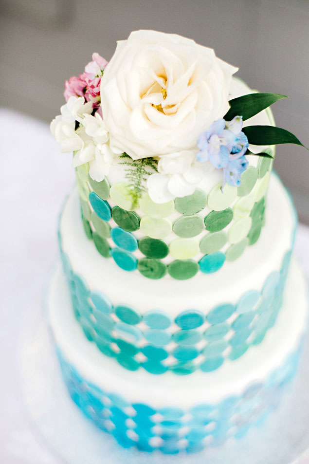Blue Polka Dot Wedding Cake