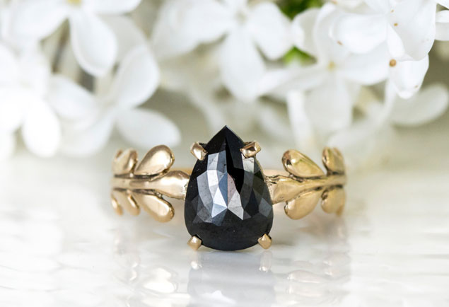 Black Diamond Engagement Ring