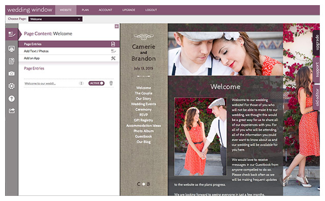 WeddingWindow.com HTML 5 Editor